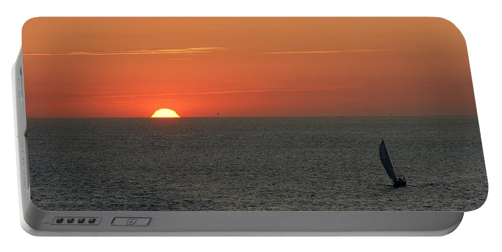 Boat Portable Battery Charger featuring the photograph Sailing From The Sun by Erik Tanghe