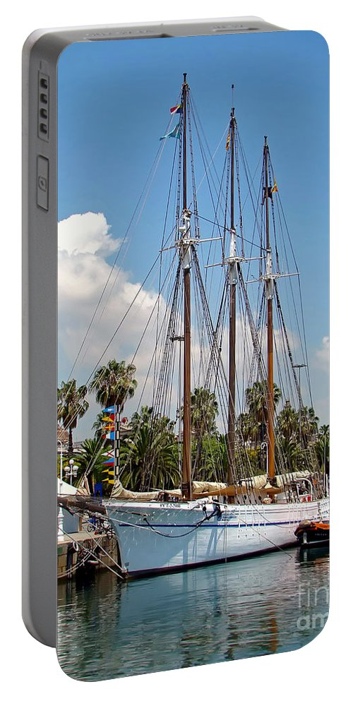 Ship Portable Battery Charger featuring the photograph Sailing In Barcelona by Sue Melvin