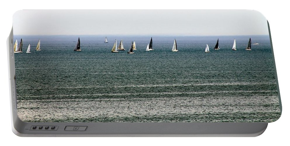 Cleveland Portable Battery Charger featuring the photograph Sailing On Lake Erie by Wendy Gertz