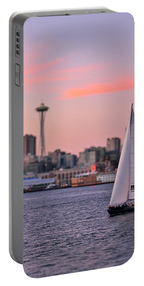 3scape Photos Portable Battery Charger featuring the photograph Sailing Puget Sound by Adam Romanowicz