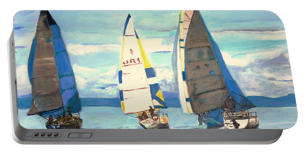 Seascape Portable Battery Charger featuring the painting Sailing Regatta At Port Hardy by Teresa Dominici