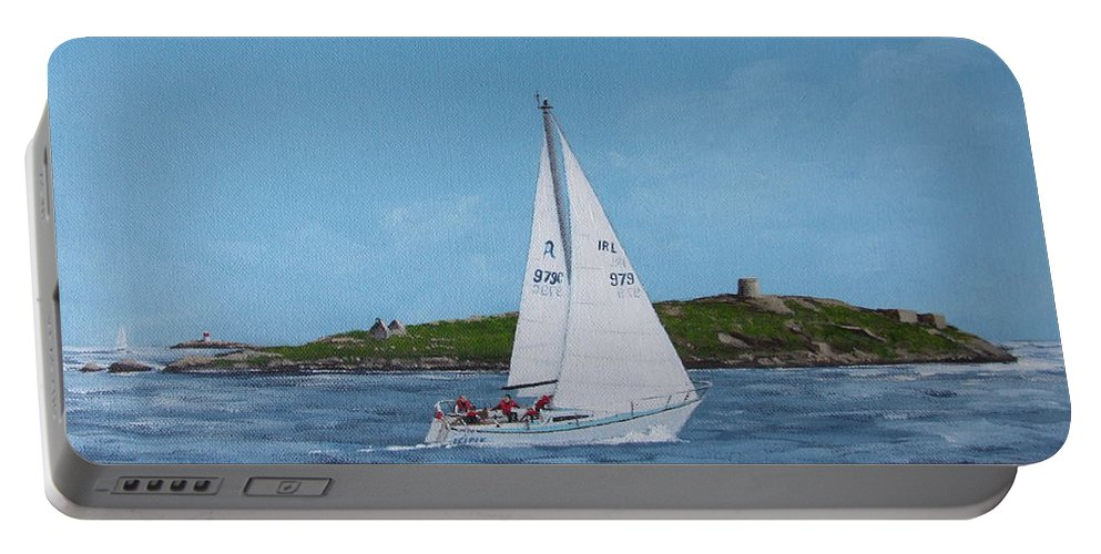 Sailing Portable Battery Charger featuring the painting Sailing Through Dalkey Sound by Tony Gunning