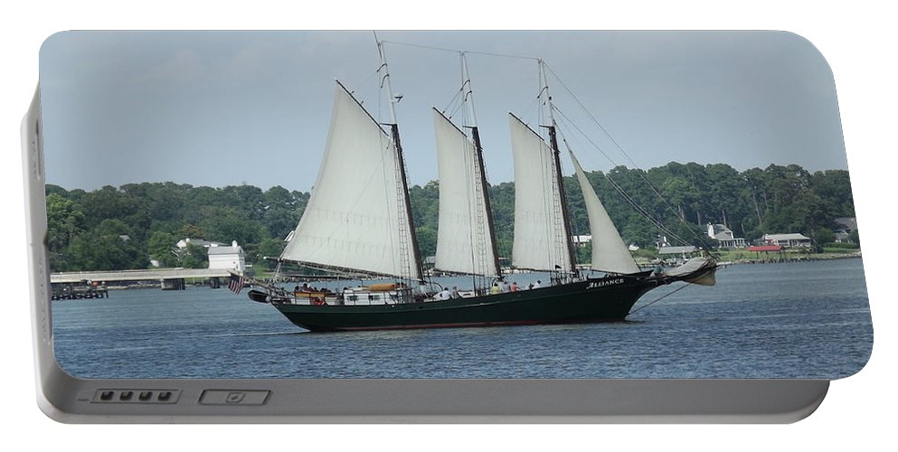Sailing Portable Battery Charger featuring the digital art Sailing Through History by Barkley Simpson