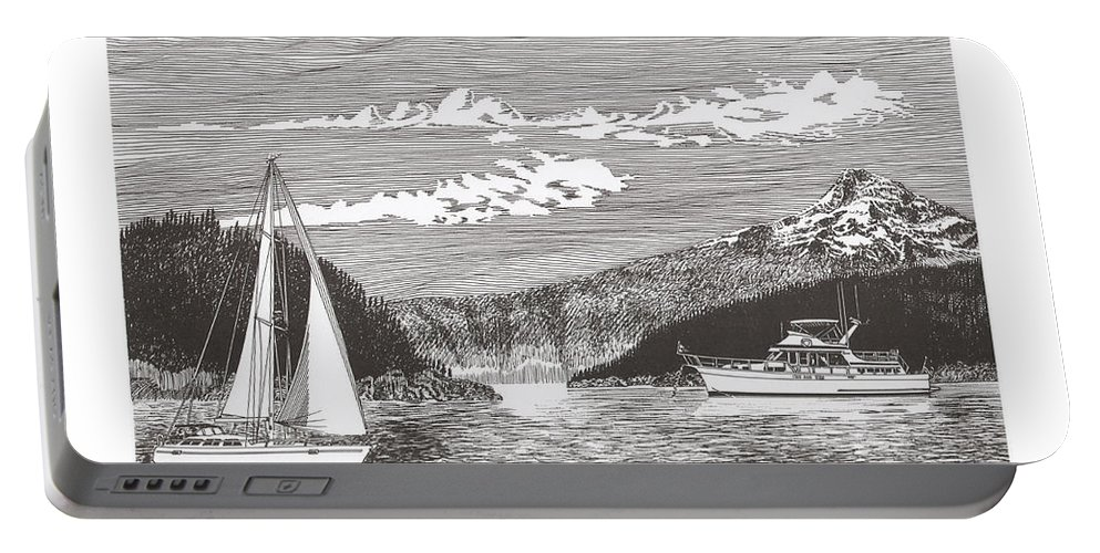 Yacht Portraits Portable Battery Charger featuring the drawing Sailing Mount Hood Oregon by Jack Pumphrey
