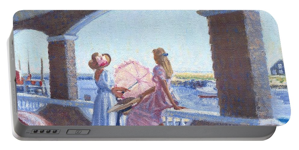 Women Portable Battery Charger featuring the painting Sailor's Watch by Candace Lovely