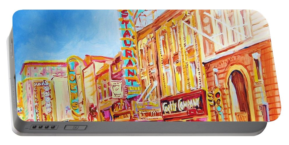 Paintings Of Montreal Portable Battery Charger featuring the painting Saint Catherine Street Montreal by Carole Spandau