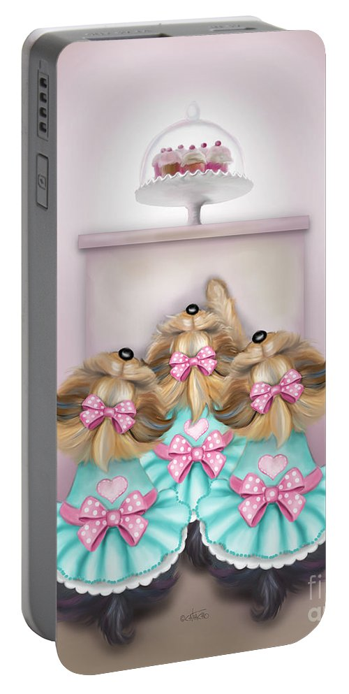 Saint Cupcakes Portable Battery Charger featuring the painting Saint Cupcakes by Catia Lee