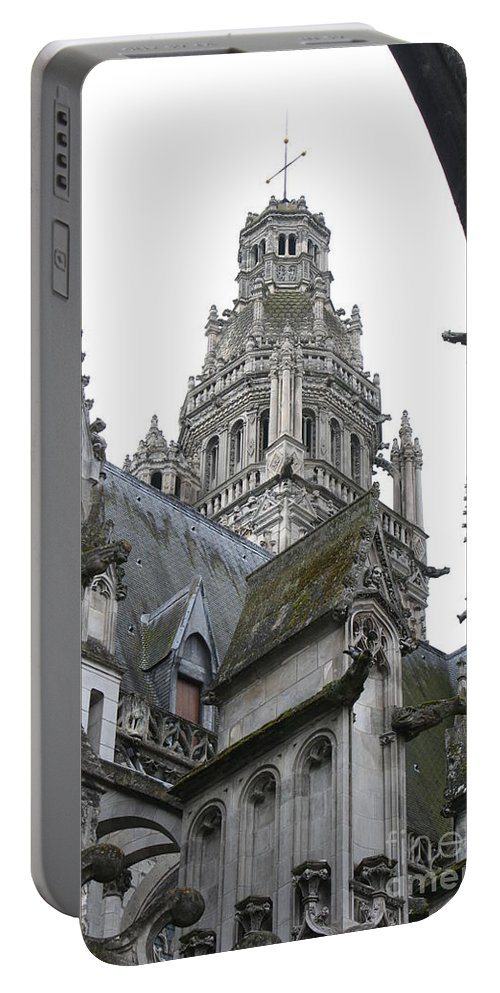 Cathedral Portable Battery Charger featuring the photograph Saint Gatien's Cathedral Steeple by Christiane Schulze Art And Photography