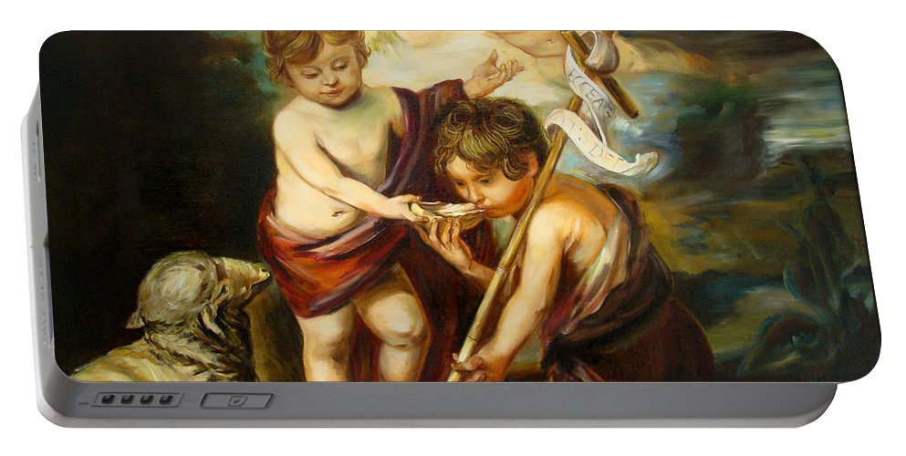 Classic Art Portable Battery Charger featuring the painting Saint John Baptist by Silvana Abel