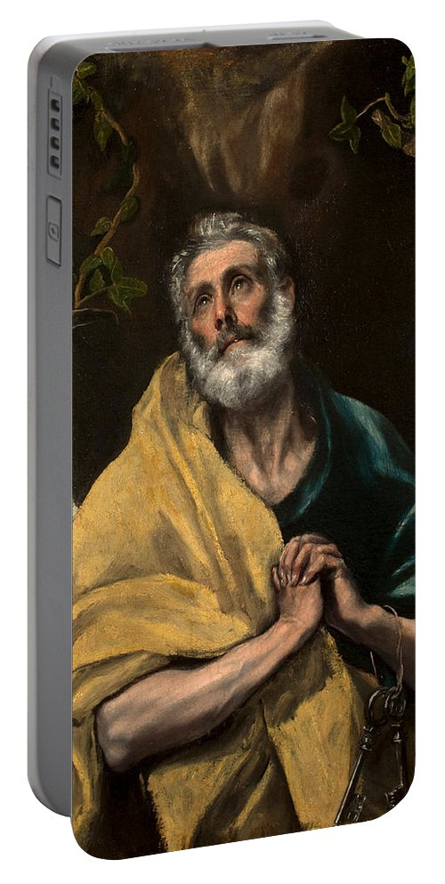 El Greco Portable Battery Charger featuring the painting Saint Peter In Tears by El Greco