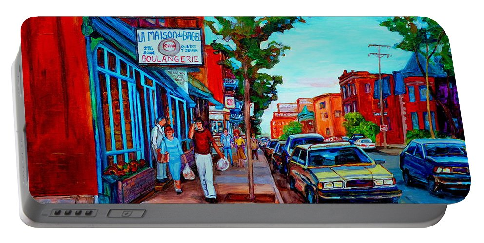 St.viateur Bagel Shop Portable Battery Charger featuring the painting Saint Viateur Bagel Shop by Carole Spandau