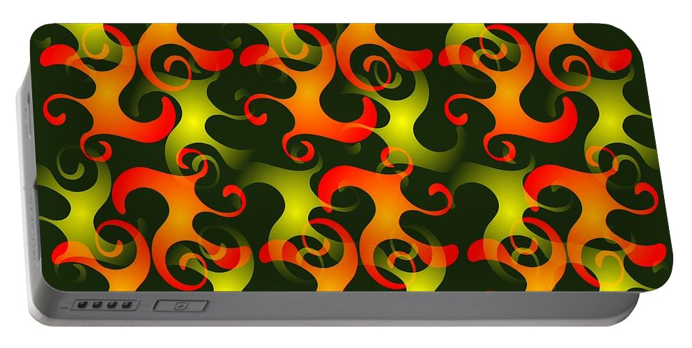 Abstract Portable Battery Charger featuring the digital art Salamanders Dream by Anastasiya Malakhova