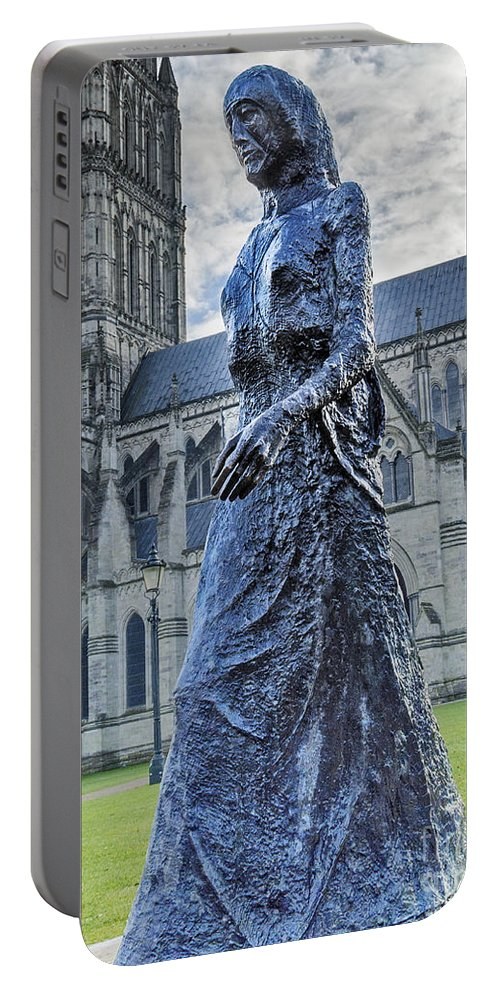 Salisbury Portable Battery Charger featuring the photograph Salisbury Cathedral And The Walking Madonna 2 by Linsey Williams