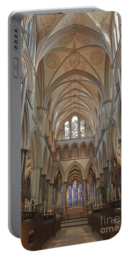 Salisbury Cathedral Portable Battery Charger featuring the photograph Salisbury Cathedral Quire And High Altar by Terri Waters