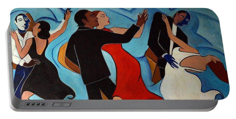 Dancers Portable Battery Charger featuring the painting Salle De Danse by Valerie Vescovi