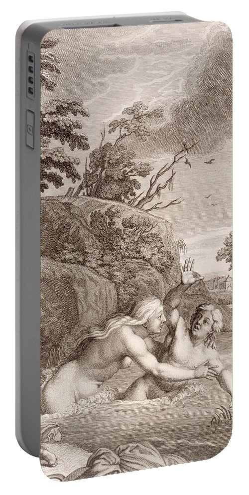 Metamorphosis Portable Battery Charger featuring the painting Salmacis And Hemaphroditus United In One Body by Bernard Picart