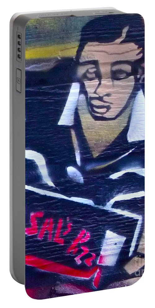 Spike Lee Portable Battery Charger featuring the painting Sal's Pizza by Tony B Conscious