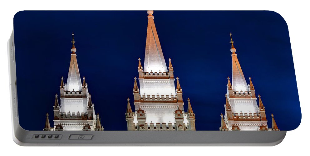Lds Portable Battery Charger featuring the photograph Salt Lake Lds Mormon Temple At Night by Gary Whitton