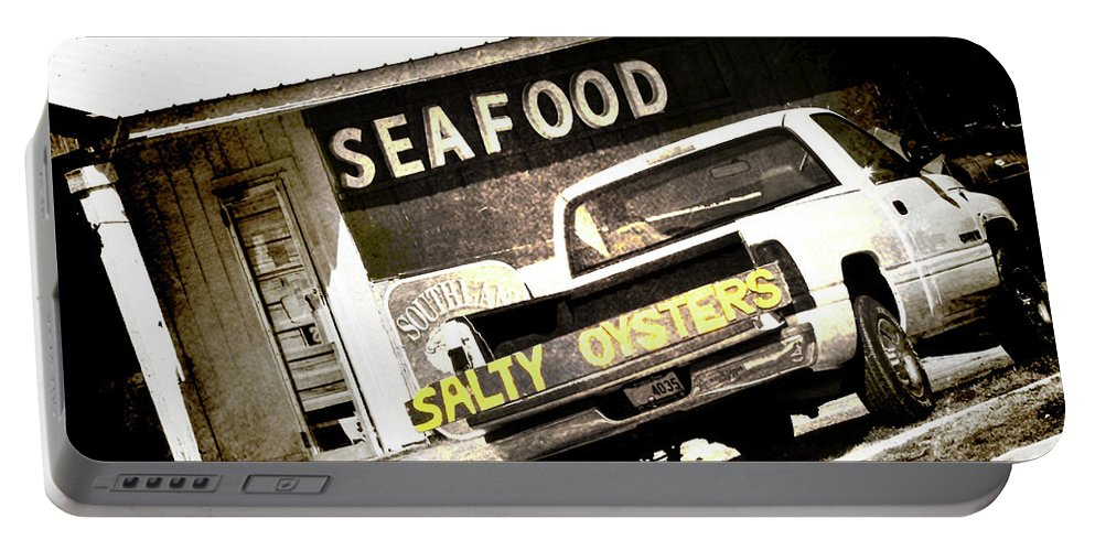Oysters Portable Battery Charger featuring the photograph Salty Oysters - Textured by Scott Pellegrin