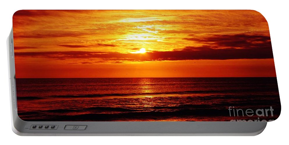 Keri West Portable Battery Charger featuring the photograph Salty Sunrise by Keri West