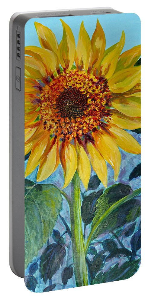 Acrylic Painting Portable Battery Charger featuring the painting Salute The Sun by Susan Duda
