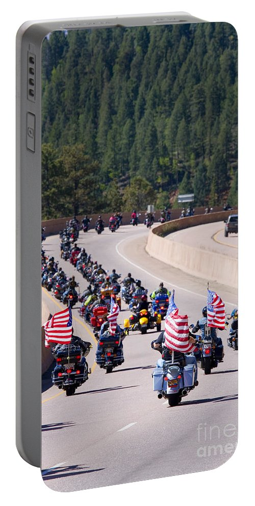 Motorcycle Portable Battery Charger featuring the photograph Salute To Veterans Rally by Steve Krull