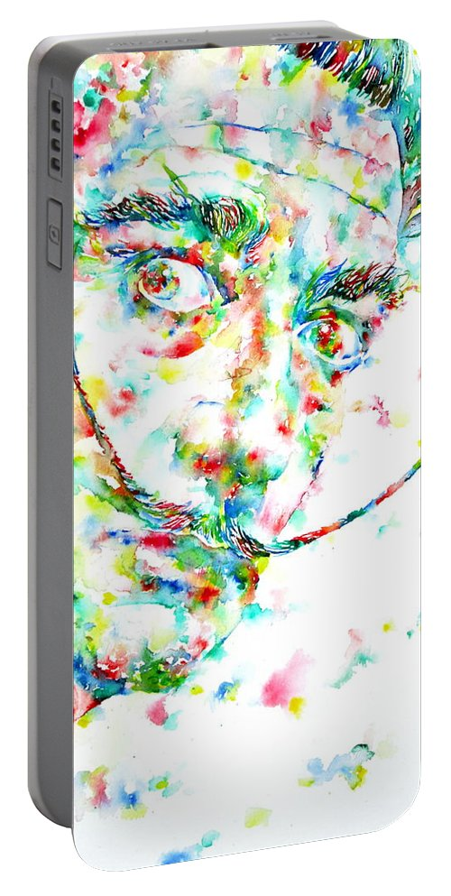 Salvador Portable Battery Charger featuring the painting Salvador Dali Watercolor Portrait by Fabrizio Cassetta