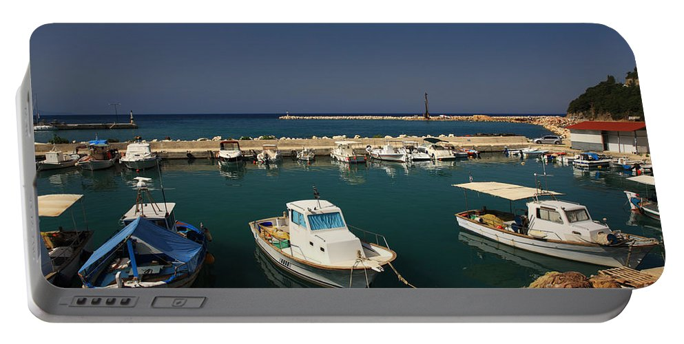 Blue Portable Battery Charger featuring the photograph Sami Harbour Kefalonia by Deborah Benbrook