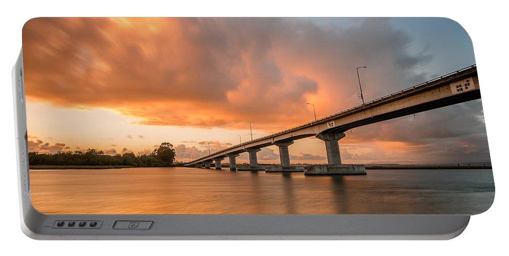 Samoa Bridge Portable Battery Charger featuring the photograph Samoa Bridge At Sunset by Greg Nyquist