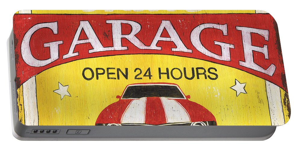 Sam Portable Battery Charger featuring the painting Sam's Garage by Debbie DeWitt