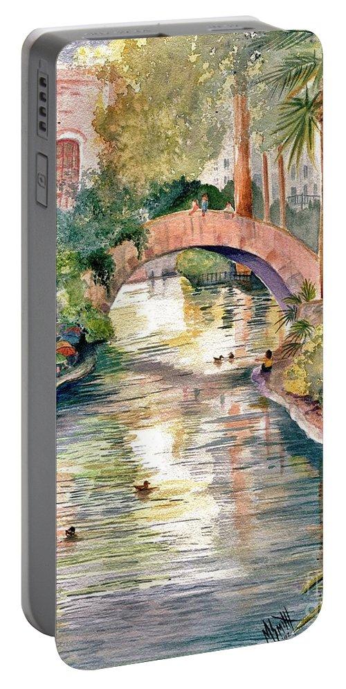 San Antonio Riverwalk Portable Battery Charger featuring the painting San Antonio Riverwalk by Marilyn Smith
