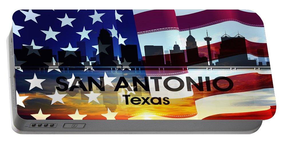 San Antonio Portable Battery Charger featuring the mixed media San Antonio Tx Patriotic Large Cityscape by Angelina Vick