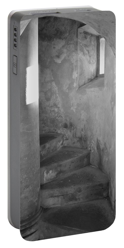 San Christobal Portable Battery Charger featuring the photograph San Christobal Staircase- Black And White by Shanna Hyatt