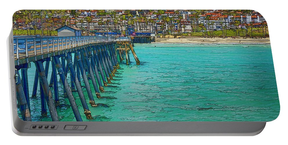 San Clemente Portable Battery Charger featuring the photograph San Clemente Pier by Joan Carroll