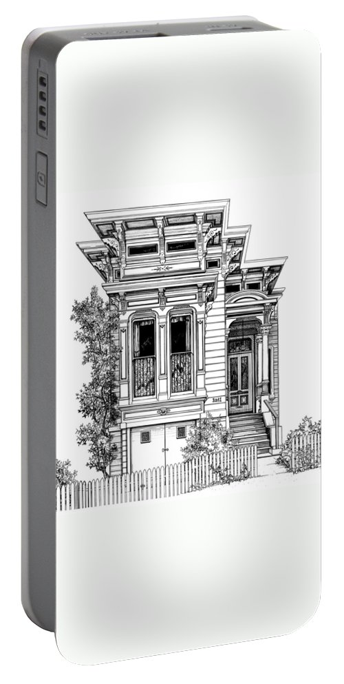 Pen And Ink Portable Battery Charger featuring the drawing San Fracisco Victorian2 by Mary Palmer