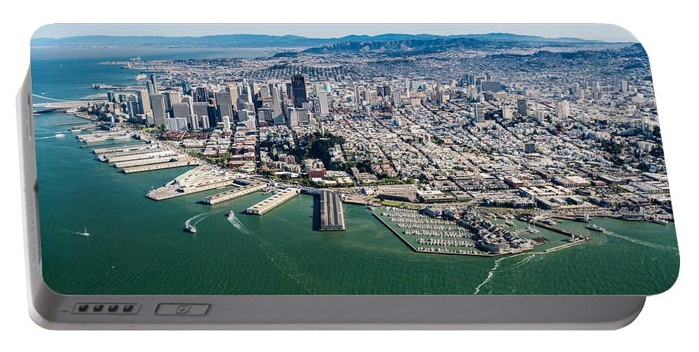 San Portable Battery Charger featuring the photograph San Francisco Bay Piers Aloft by Steve Gadomski