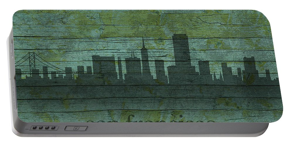 San Portable Battery Charger featuring the mixed media San Francisco California Skyline Silhouette Distressed On Worn Peeling Wood by Design Turnpike