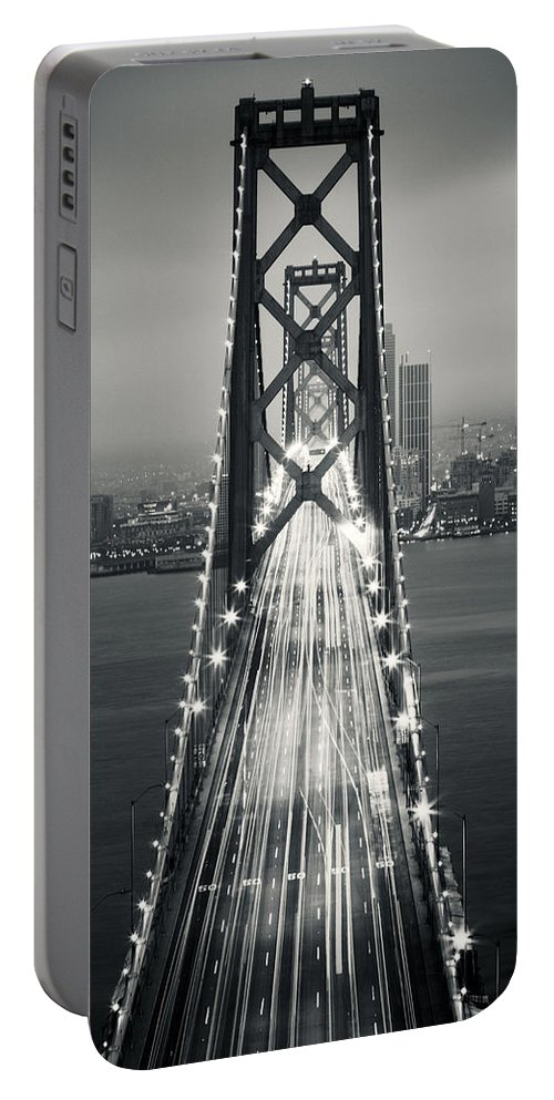3scape Portable Battery Charger featuring the photograph San Francisco - Oakland Bay Bridge Bw by Adam Romanowicz