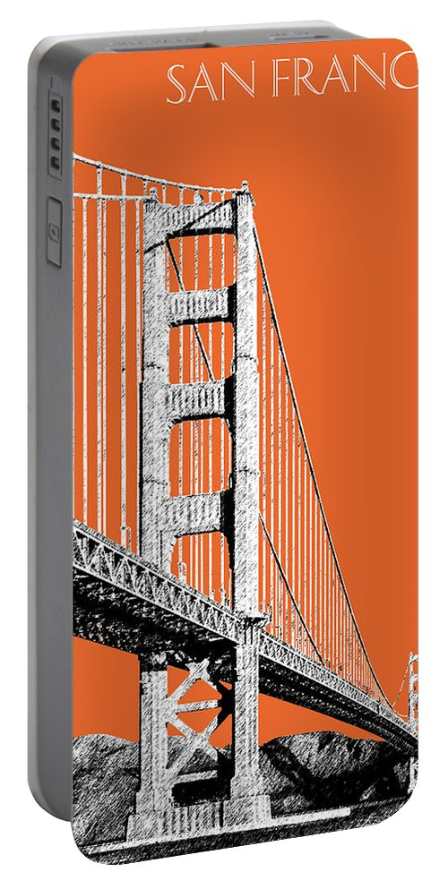 Architecture Portable Battery Charger featuring the digital art San Francisco Skyline Golden Gate Bridge 2 - Coral by DB Artist