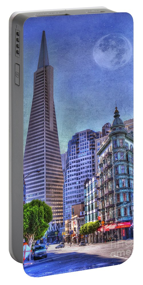 Architectural Feature Portable Battery Charger featuring the photograph San Francisco Transamerica Pyramid And Columbus Tower View From North Beach by Juli Scalzi