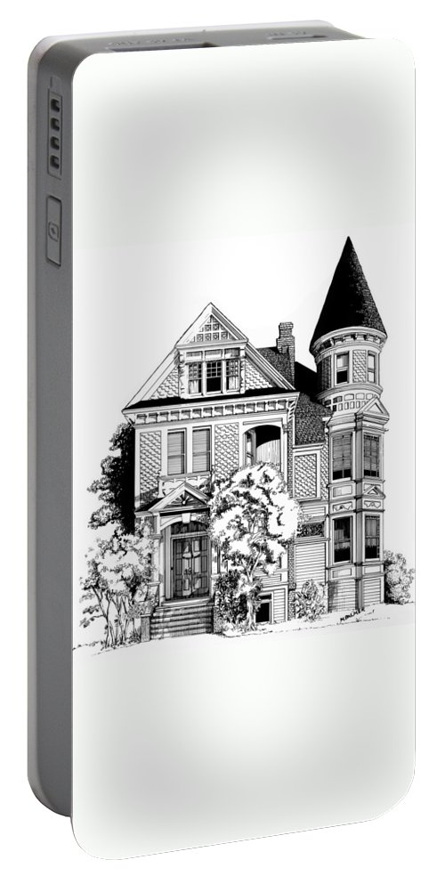 Pen And Ink Portable Battery Charger featuring the drawing San Francisco Victorian by Mary Palmer