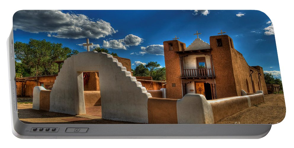 New Mexico Portable Battery Charger featuring the photograph San Geronimo Church Taos Pueblo by K D Graves