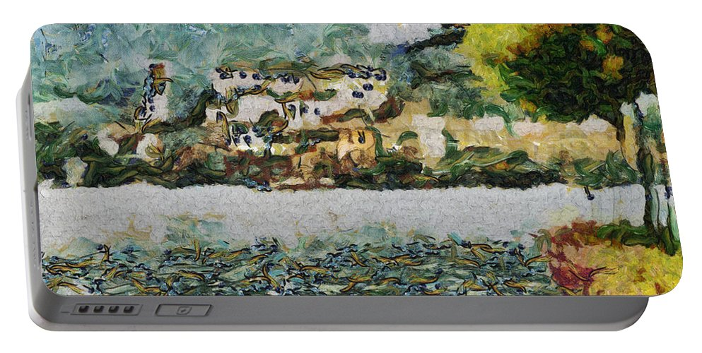 San Giulio Portable Battery Charger featuring the painting San Giulio by Inspirowl Design