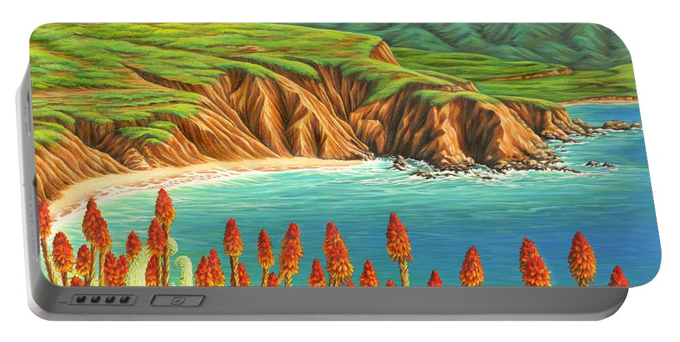 Ocean Portable Battery Charger featuring the painting San Mateo Springtime by Jane Girardot