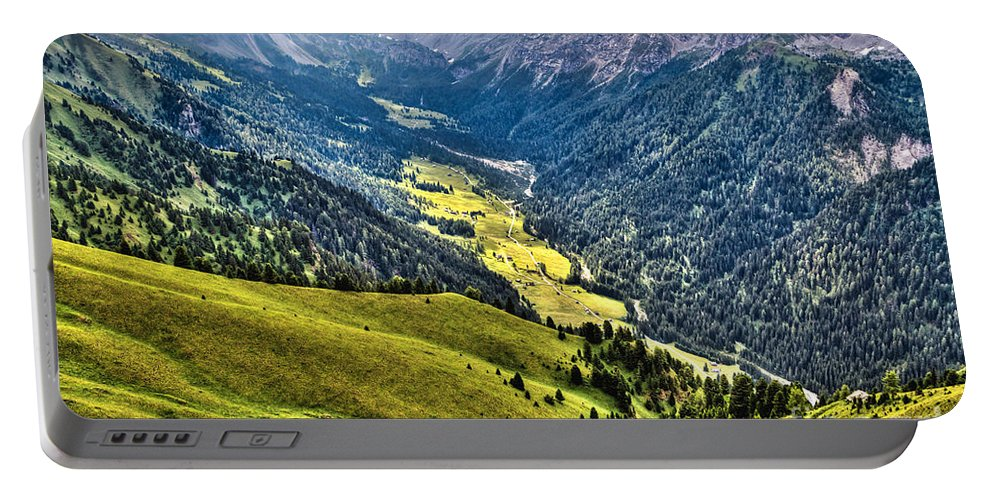 Aerial Portable Battery Charger featuring the photograph San Nicolo' Valley - Italy by Antonio Scarpi