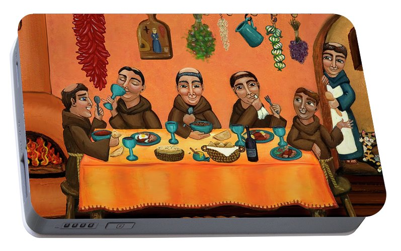 Hispanic Art Portable Battery Charger featuring the painting San Pascuals Table by Victoria De Almeida