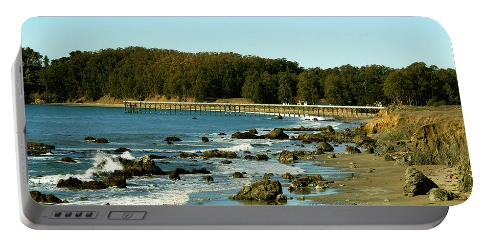 Barbara Snyder Portable Battery Charger featuring the photograph San Simeon Pier by Barbara Snyder