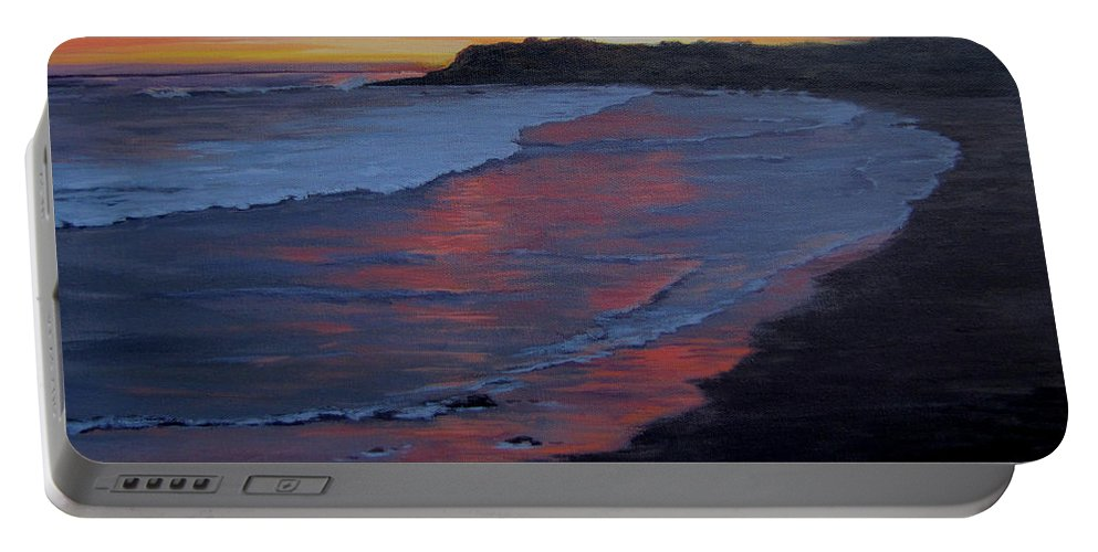 Beach Portable Battery Charger featuring the painting San Simeon Sunset by Karen Ilari