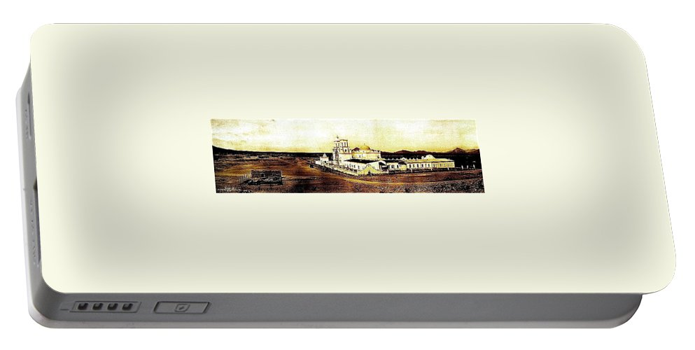 San Xavier Del Bac Mission Adjacent Hill C-1913-2013. Portable Battery Charger featuring the photograph San Xavier Del Bac Mission As Seen From An Adjacent Hill C-1913-2013. by David Lee Guss