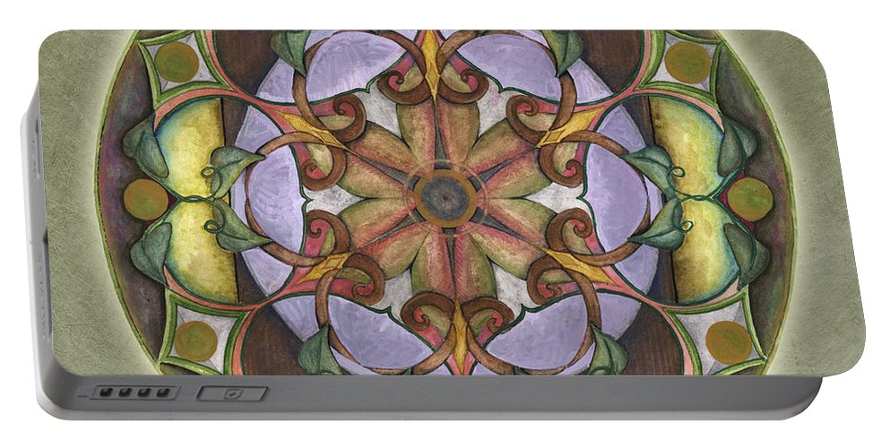 Mandala Art Portable Battery Charger featuring the painting Sanctuary Mandala by Jo Thomas Blaine